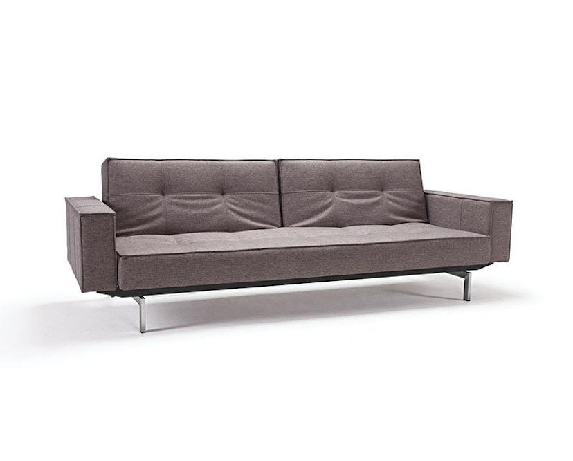 Innovation - Canapé-lit avec accoudoirs Splitback - gris foncé - flashtex - chrome - 1