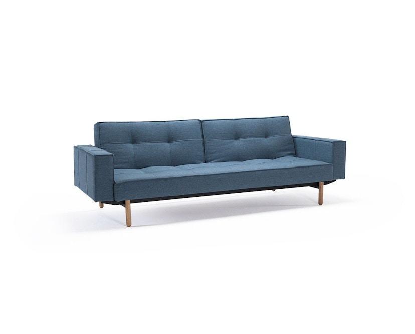 Innovation - Splitback Schlafsofa mit Armlehne - Dess. 525 - lichtblau - Beine Chrom - Gestell matt schwarz - 2