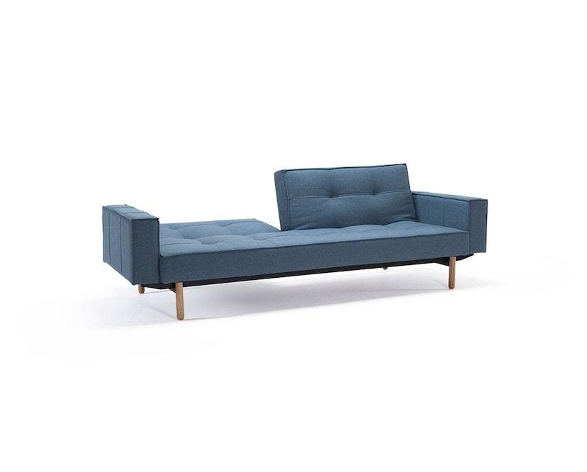 Innovation - Splitback Schlafsofa mit Armlehne - Dess. 525 - lichtblau - Beine Chrom - Gestell matt schwarz - 3