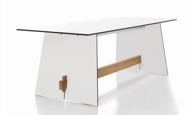 Conmoto - Tension Tisch - wit - Traverse aus Teakholz - 0