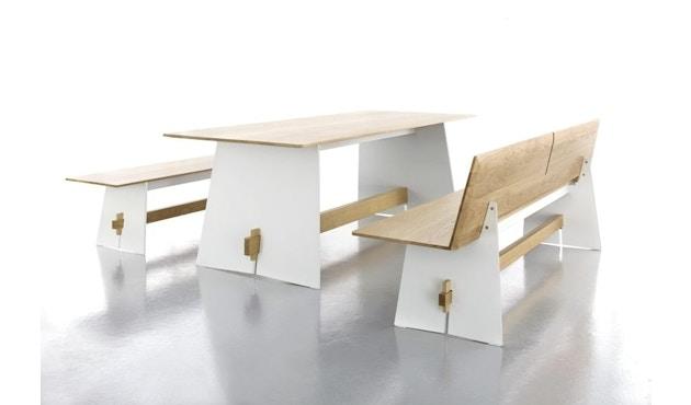 Conmoto - Tension Wood Bank mit Rückenlehne- wit/schwarze Kante - Eichenholz - 2