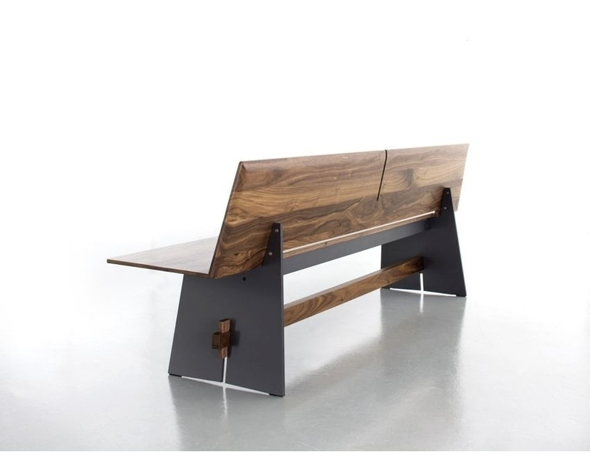 Conmoto - Tension Wood Bank mit Rückenlehne- wit/schwarze Kante - Eichenholz - 3