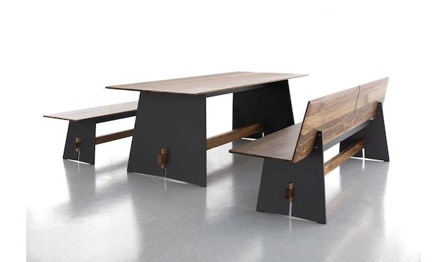 Conmoto - Tension Wood Bank mit Rückenlehne- wit/schwarze Kante - Eichenholz - 4