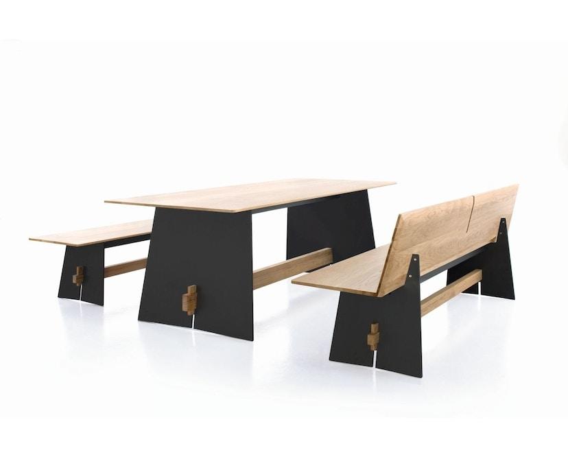 Conmoto - Tension Wood Bank mit Rückenlehne- wit/schwarze Kante - Eichenholz - 6