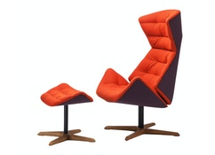 Thonet - 808 Lounge-Sessel und Ottoman - Tropic rot