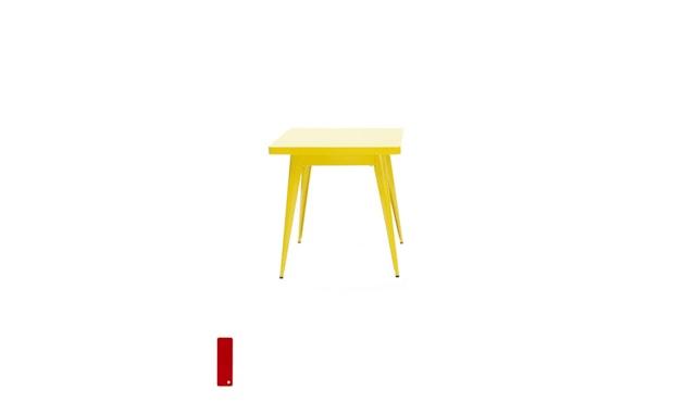 Tolix - 55 Tisch - quadratisch- klein - indoor - kaminrot - 1
