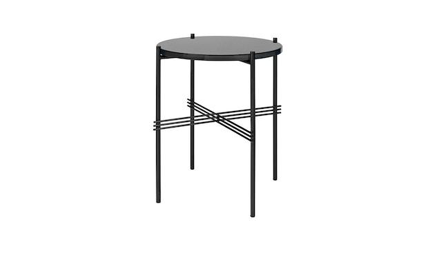 Gubi - TS Couchtisch - Glas graphit black - Gestell schwarz - Ø 40 cm - 1