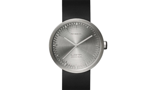 LEFF amsterdam - Tube Watch D42 armbandhorloge - Roestvrij staal - zwarte leren armband - 2
