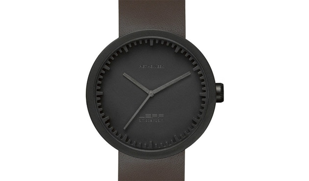 LEFF amsterdam - Tube Watch D42 Armbanduhr - schwarz/braunes Armband - 1