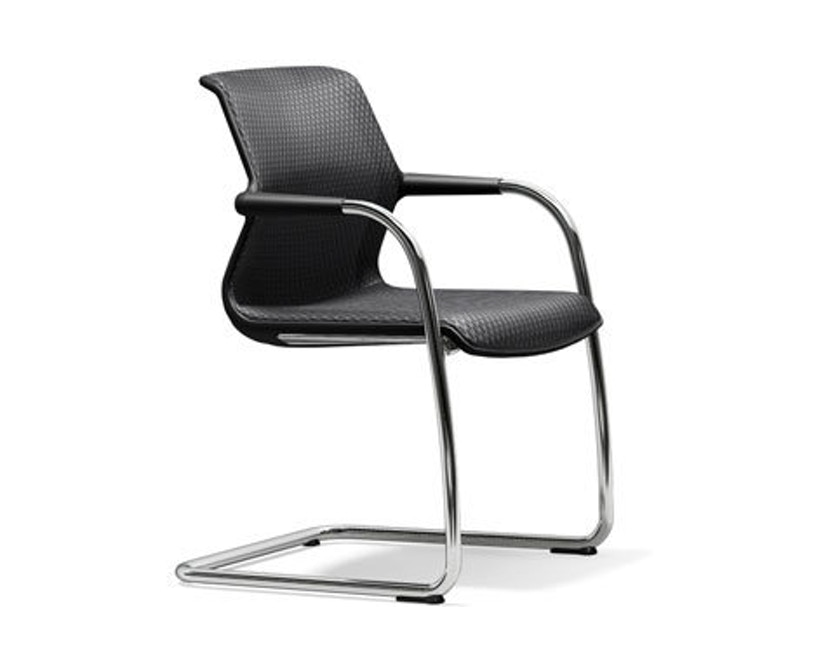Vitra - Unix Chair Freischwinger - basic dark - Diamond Mesh 21 dimgrey - 1