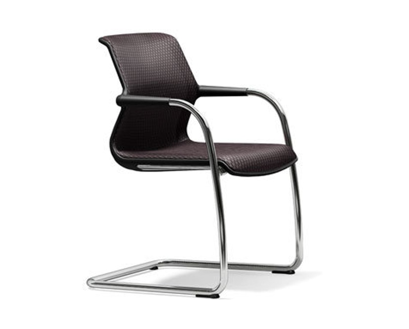 Vitra - Unix Chair Freischwinger - basic dark - Silk mesh 54 braun - 1