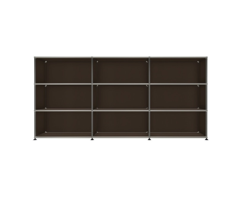 USM Haller - Board 3 x 3 éléments - ouvert - ouvert - ouvert - 22 maron - 1