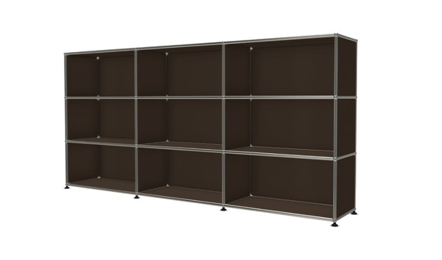 USM Haller - Board 3 x 3 éléments - ouvert - ouvert - ouvert - 22 maron - 2