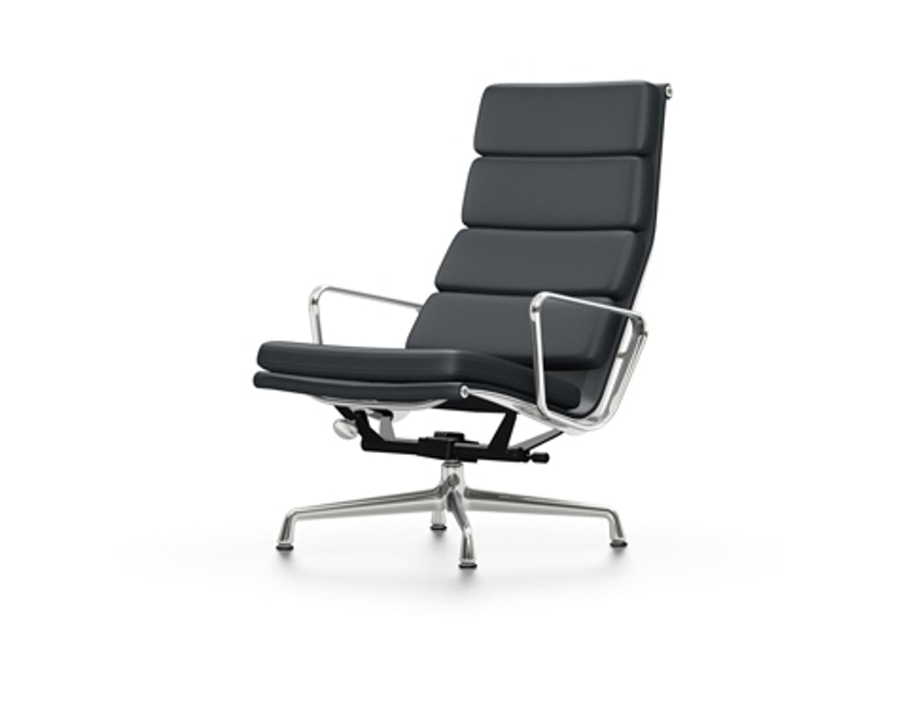 Vitra - EA 222 Soft Pad Chair, Gestell poliert, Filzgleiter Hartboden - Vitra Leder 67 asphalt - 1