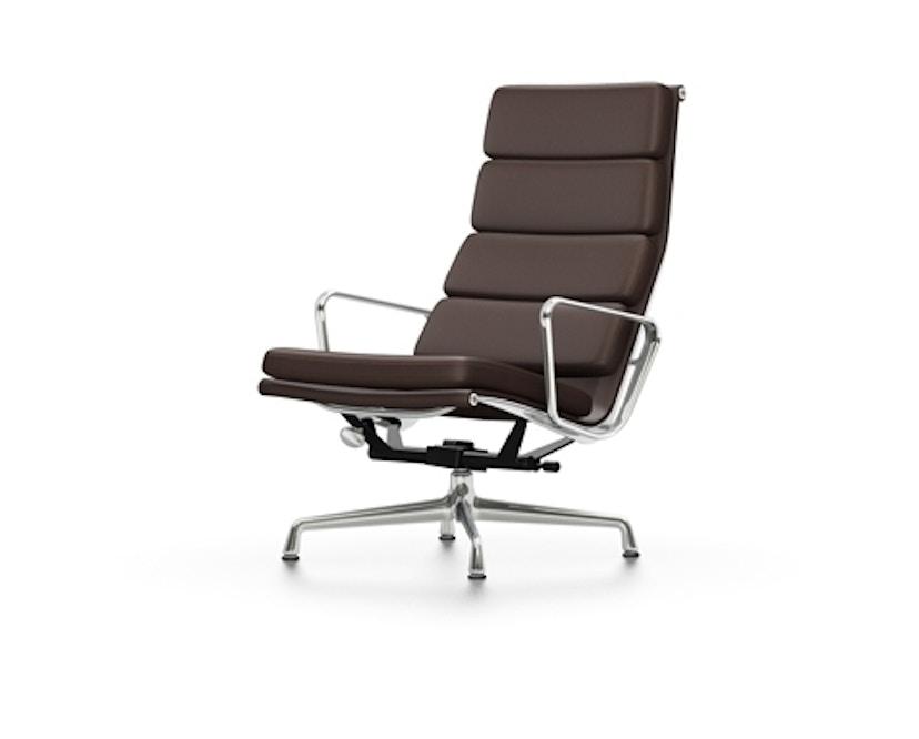 Vitra - EA 222 Soft Pad Chair, Gestell poliert, Filzgleiter Hartboden - Vitra Leder 69 kastanie - 1