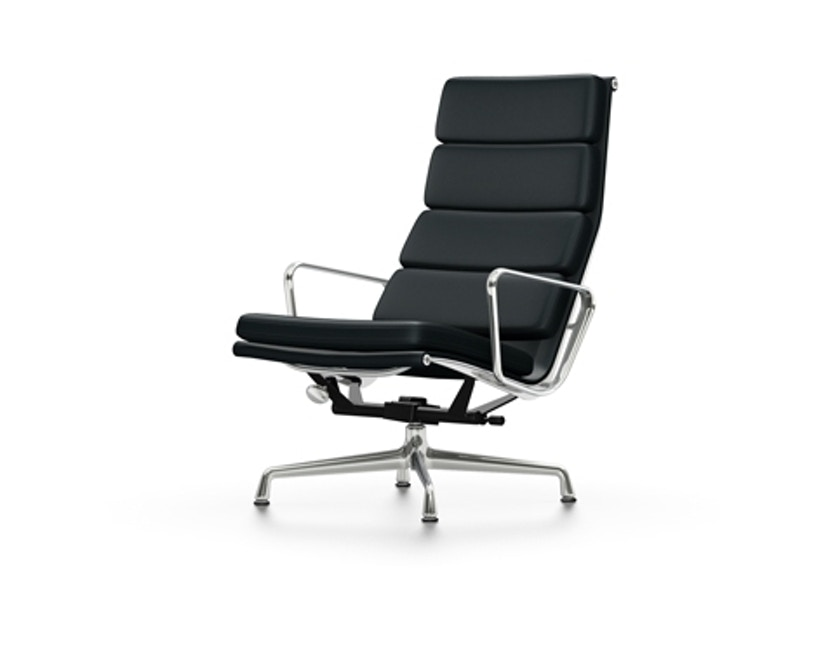 Vitra - EA 222 Soft Pad Chair, Gestell poliert, Gleiter Teppich - Vitra Leder 66 nero - 1