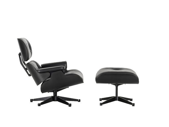 Vitra - Black Lounge Chair & Ottoman - XL - nouvelle dimension - 89 cm - 1
