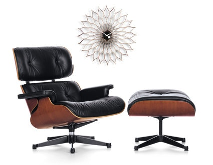 Vitra - Lounge Chair & Ottoman - XL - Kirschbaum/nero