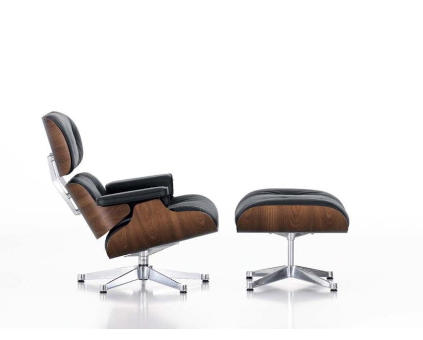 Vitra - Lounge Chair & Ottoman - Noyer - pigment noir - Cuir - nero - poli - XL - nouvelle dimension - 89 cm - 1
