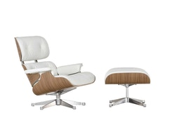Vitra - White Lounge Chair & Ottoman